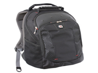 Backpack with padded compartments for laptop storage. Fits most 16 inch screens. Accessory pockets. Large capacity main compartment. Air-flow back padding. Adjustable shoulder straps. MP3 compartment and earphone port. MD57642