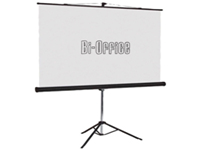 Bi-Office Tripod Projection Screen with matt white Projection surface rugged steel case chrome legs and carry handle. Easy to set up ideal for computer video slide and overhead projectors. Manufactured from flame retardant material. Size: 1500x1500mm