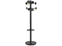 Tubular steel coat stand with eight rounded coat pegs finished in Black with Black stand. Integral umbrella holder Heavy base for high stability Height: 1850mm. Non returnable.