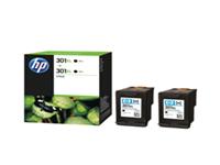 HP 301XL - 2-pack - High Yield - black - original - ink cartridge - for Deskjet 15XX, 2050A J510, 2054A J510, 25XX; Envy 45XX, 55XX; Officejet 26XX, 46XX