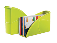 Stylish and modern magazine file with the capacity to hold documents up to 24x32cm. Made of reinforced recyclable polystyrene with smooth sides and low front. W85 x D270 x H310mm. Green.