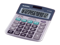 Aurora Semi-Desktop Calculator - DT398. Professional dual powered calculator with a durable metal facia hard keys decimal point selector round up key mark up key 3 memory keys and auto power off.