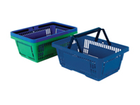 Plastic Shopping Basket Blue Tapered to allow compact stacking. Slotted to allow greater visibility. Base: 325 x 205mm. Top: 430 x 300mm. Height: 225mm. Non returnable.