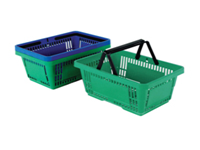 Plastic Shopping Basket Green Tapered to allow compact stacking. Slotted to allow greater visibility. Base: 325 x 205mm. Top: 430 x 300mm. Height: 225mm. Non returnable.