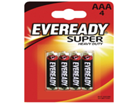 General purpose heavy duty batteries that have a significantly longer life than conventional zinc batteries. Contains no added mercury or cadmium and are guaranteed against manufacturing defects. 3 year best before date printed on all batteries. Size AAA.