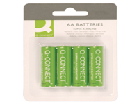 General purpose high performance alkaline Q-Connect 1.5 Volt battery. They contain no added mercury. AA. Pack 4 batteries.