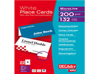 Heavyweight 200gsm place cards suitable for inkjet and laser printers. Extra fine micro-perforated card. 6 cards per A4 sheet (85 x 46mm).