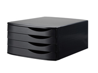 Jalema Desktop Set Black. Four drawer desk unit to accommodate A4 files and documents. Features cut out handles for easy access to drawer contents. Colour: Black.