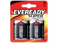 Eveready Silver Battery - Size D. General purpose battery with a significantly longer life than conventional zinc batteries. No added mercury or cadmium and guaranteed against manufacturing defects and leakage. Pack of 2.