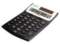 Aurora EcoCalc 12-digit desk top calculator made from recycled plastic packaging made from 90% plus recycled paper and zero air miles during transportation. Features ISO14001 RoHS and WEEE compliant Cost Sell Margin and Tax features