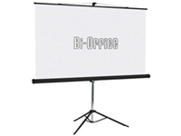 Bi-Office Tripod Projection Screen with matt white Projection surface rugged steel case chrome legs and carry handle. Easy to set up ideal for computer video slide and overhead projectors. Manufactured from flame retardant material. Size: 1250x1250mm