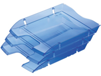 Eco-friendly made from 97% recycled PET water bottles. Sloped front for easy insertion/removal of documents. Colourful design is perfect for any home/workplace. Can be used in a system with other letter trays. Dimensions: 289x390x234mm. Colour: Blue.