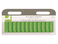 General purpose high performance Q-Connect alkaline battery. Contains no added mercury. AA size. Pack 12.