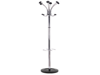 Elegant chrome finished coat stand with six coat pegs with rounded tips four hooks for accessories and one peg with umbrella hanger. Non returnable.