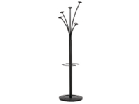 Tubular steel coat stand elegantly finished in Black. Five rounded coat pegs and one peg with umbrella hanger. Heavy base for high stability. 1870mm high. Non returnable.