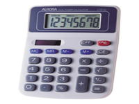 Dual powered desktop calculator with large 8 digit fixed angle display and spacious keypad. Features include: 4 key memory constants: addition division multiplication and subtraction percentage and square root keys and +/- change sign key.