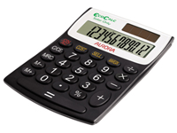 Aurora EcoCalc 8-digit semi desk calculator made from recycled plastic packaging made from 90% plus recycled paper and zero air miles during transportation. Features ISO14001 RoHS and WEEE compliant Large keys large display and large answer bar.
