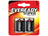 Eveready silver battery - Size C. General purpose battery with a significantly longer life than conventional zinc batteries. No added mercury or cadmium and guaranteed against manufacturing defects and leakage. Pack of 2.
