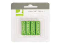 General purpose high performance Q-Connect alkaline 1.5 Volt battery. They contain no added mercury. AAA. Pack 4 batteries.