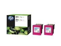 HP 301XL - 2-pack - High Yield - colour (cyan, magenta, yellow) - original - ink cartridge - for Deskjet 15XX, 2050A J510, 2054A J510, 25XX; Envy 45XX, 55XX; Officejet 26XX, 46XX