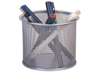 Q-Connect Mesh Pen Pot. Pen pot for pens pencils highlighters and rulers. W86 x D86 x H105mm. Colour: Silver.
