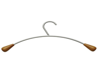 Alba Wood and Metal coat hangers. Elegant and sturdy this new design features a stylish combination of metal and wood. Curved shape is ideal for perfect care of coats. Non returnable.