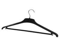 Alba Plastic Coat hanger. Durable Black plastic hanger with trouser bar and chrome hook. Non returnable.