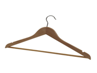 Alba Wooden Coat Hanger. Quality wooden hangers with trouser bars and chrome hooks. Non-Returnable.