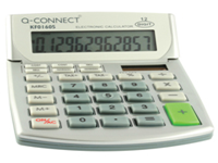 Q Connect Dual Powered 10 Digit Calculator with extra large easy to read adjustable display 4 memory keys battery back-up and auto power off. Dimensions - 138x103x31mm.