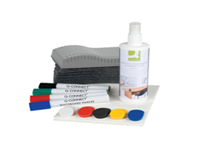 Q-Connect Whiteboard Starter Kit. Everything you need for a magnetic whiteboard! Each kit contains a 250ml bottle of whiteboard cleaning fluid 4 assorted whiteboard markers 10 assorted magnets a whiteboard eraser plus refills and 5 absorbent wipes.
