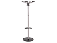 Coat stand with unique and contemporary design. Six rounded coat hooks with four accessory pegs. Integral umbrella holder. Stylish Chrome finish with matt Black pegs. Please note umbrella and jacket are not included.-Height 1750mm. Non returnable.