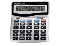Aurora Heavy Duty 12 Digit Dual Powered Desktop Calculator with large keys and fixed angle display for easy viewing. Other features include Round up-down and decimal selector. DT303. Dimensions - 133x198x34mm.