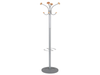 Elegantly designed coat stand finished in light wood and metallic grey. Four coat pegs four hooks for accessories and one peg with umbrella hanger. Heavy base for stability. Height 1770mm. Non returnable.
