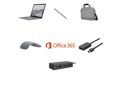 Microsoft Laptop i7, 8GB, 256GB SSD Complete Bundle - Targus Messenger Bag, Mini DP to HDMI Adapter, Pen, Mouse and Dock - includes Office 365 Business License and 3 Years Complete for Business Warranty