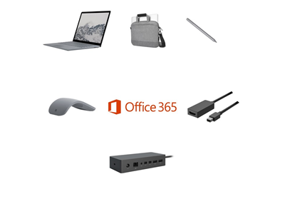 Microsoft Laptop i5, 8GB, 128GB SSD Complete Bundle - Targus Messenger Bag, Mini DP to HDMI Adapter, Pen, Mouse and Dock - includes Office 365 Business License and 3 Years Complete for Business Warranty