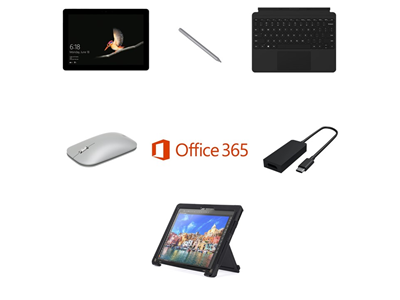 Microsoft Surface Go 128GB eMMC Complete Bundle -  Griffin Survivor Case, USB-C to HDMI Adapter, Pen, Mouse, Touchcover - includes Office 365 Business License and 3 Years Complete for Business Warranty