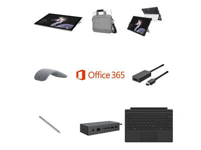 Microsoft Surface Pro i5, 8GB, 128GB SSD Complete Bundle - Targus Messenger Bag, Kensington Blackbelt Rugged Case, Mini DP to HDMI Adapter, Pen, Mouse, Touchcover and Dock - includes Office 365 Business License and 3 Years Complete for Business Warranty