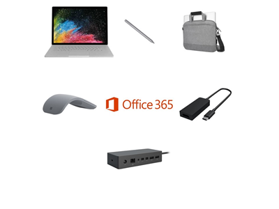 Microsoft Surface Book 2 i7, 16GB, 256GB SSD Complete Bundle - Targus Messenger Bag, USB-C to HDMI Adapter, Pen, Mouse and Dock - includes Office 365 Business License and 3 Years Complete for Business Warranty