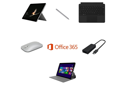 Microsoft Surface Go 64GB eMMC Complete Bundle - Incipio Faraday Folio Cover, USB-C to HDMI Adapter, Pen, Mouse, Touchcover - includes Office 365 Business License and 3 Years Complete for Business Warranty