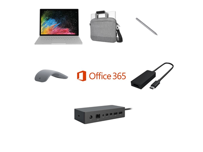 Microsoft Surface Book 2 i5, 8GB, 256GB SSD Complete Bundle - Targus Messenger Bag, USB-C to HDMI Adapter, Pen, Mouse and Dock - includes Office 365 Business License and 3 Years Complete for Business Warranty